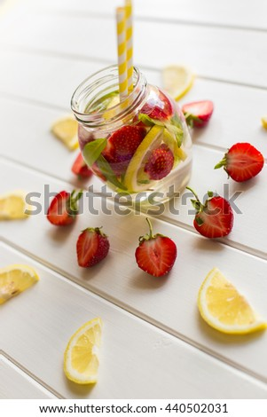 delicious lemonade with strawberries - stock photo