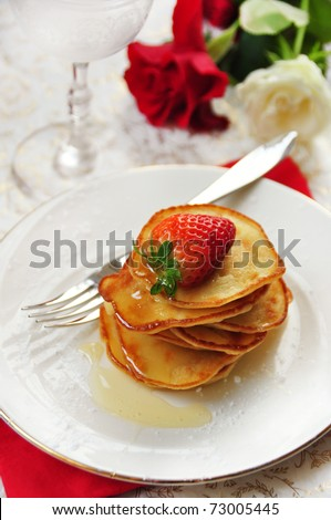 delicious little pancakes with strawberry - stock photo