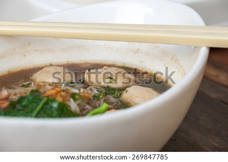 Delicious local Thai noodle with pork meatball for food background - stock photo