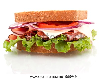 Delicious looking ham sandwich on white background
