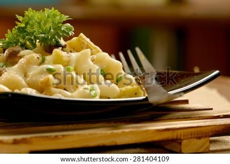 Delicious macaroni and cheese - stock photo