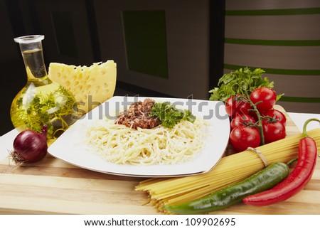 delicious macaroni pasta with tuna in a white plate - stock photo