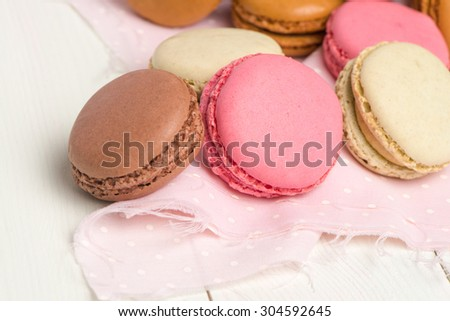 Delicious Macarons, French Pastry Cookies with Cream. - stock photo