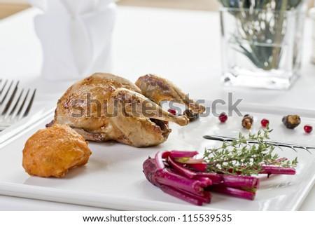 delicious main course in elegant restaurant - stock photo