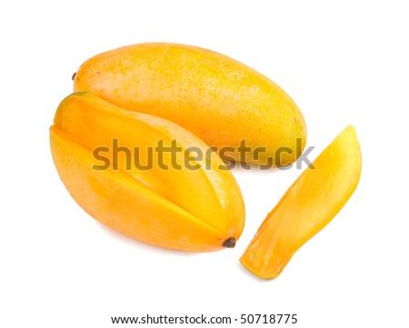 delicious mango fruit and slice on white background, tropical fruit. - stock photo