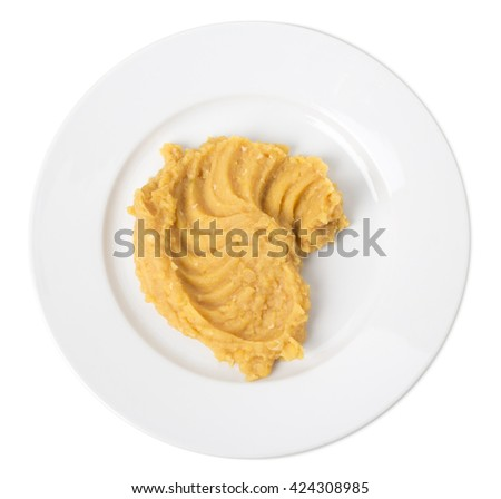 Delicious mashed peas. Isolated on a white background.  - stock photo