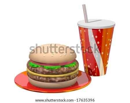 Delicious meal of hamburger and soft drink isolated on white - stock photo
