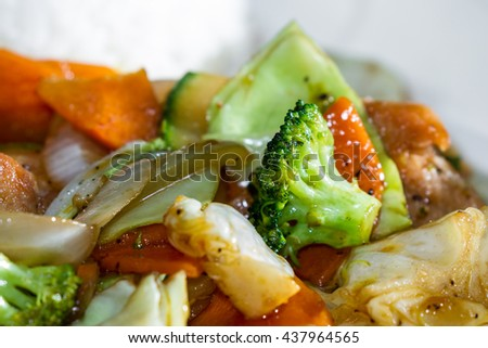 delicious meal prepared and presented restaurant style with fresh ingredients - stock photo