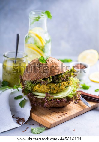 Delicious meatless burger on wholegrain bread