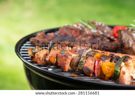 Delicious meats on garden grill, barbecue time. - stock photo