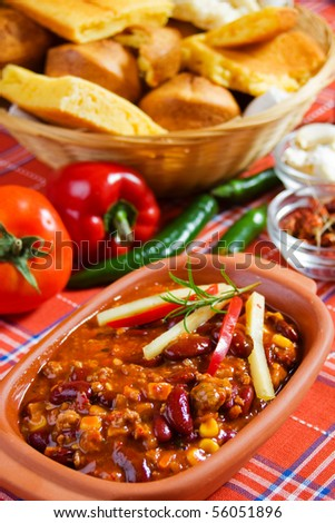 Delicious mexican chili with kidney bean, corn and ground beef - stock photo