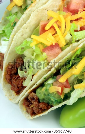 Delicious mexican tacos perfect appetizer meal or delicious snack - stock photo