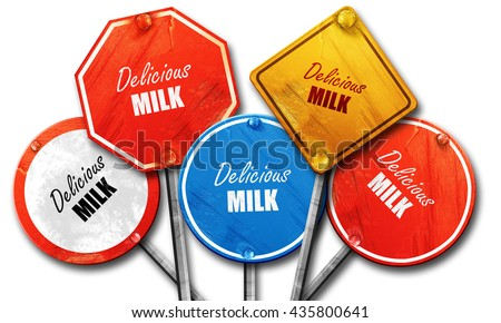 Delicious milk sign, 3D rendering, rough street sign collection