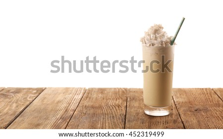 Delicious milkshake, isolated on white - stock photo