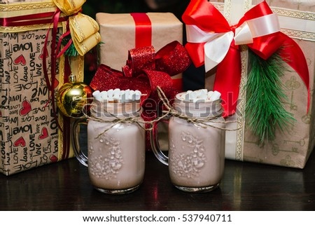 delicious milkshake with cream, vintage glass mug the new year