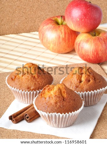 Delicious muffins with apple and cinnamon - stock photo