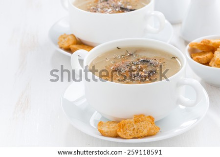 delicious mushroom cream soup with croutons, close-up - stock photo