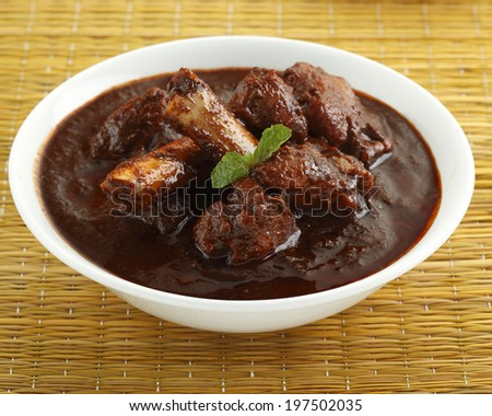 Delicious mutton rogan josh in bowl, Indian food - stock photo