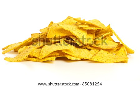 delicious nachos stack isolated on a white background