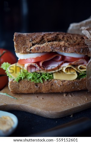 Delicious natural and diet sandwich