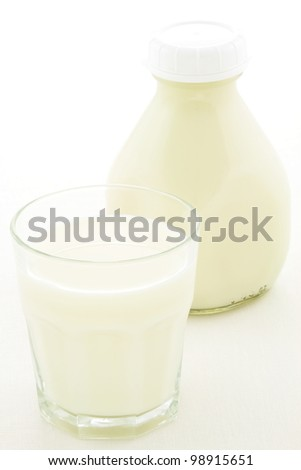 Delicious, nutritious and fresh Pint Glass Milk Bottle and glass of milk.
