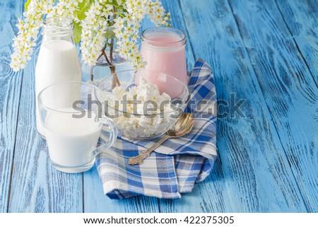 Delicious, nutritious and fresh plain yogurt and milk bottle. - stock photo
