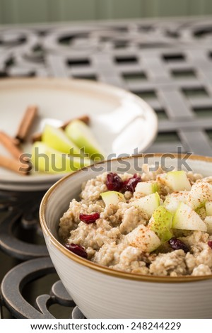 Delicious oatmeal breakfast cereal with apples and cranberries and cinnamon sticks - stock photo