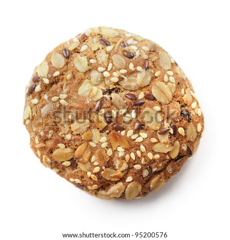 Delicious oatmeal cookie isolated on white background - stock photo