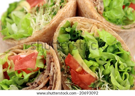 Delicious  organic sandwich wraps with fresh veggies perfect healthy meal