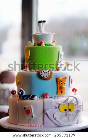 Delicious original wedding or birthday cake  - stock photo