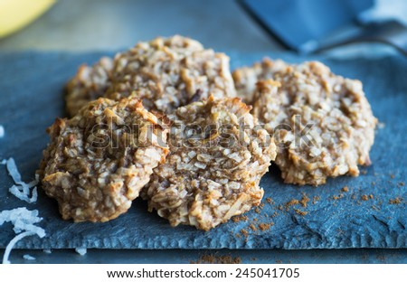 Delicious paleo cookies with coconut and banana - stock photo