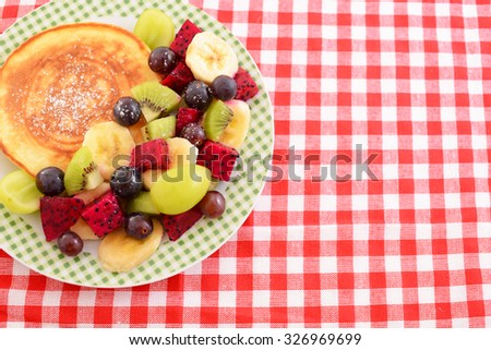 Delicious pancake with fruits