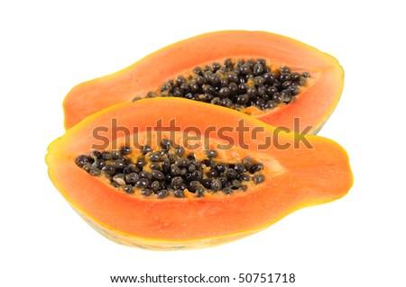 Delicious papaya isolated on white background - stock photo