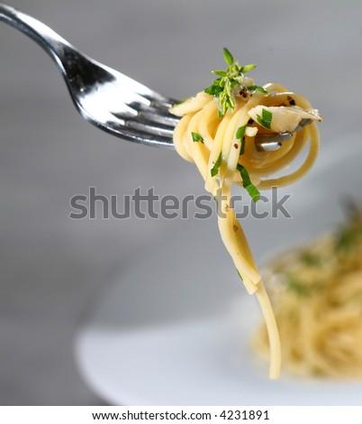 Delicious pasta close-up - stock photo