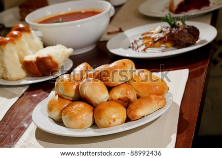 delicious pastries, soup, meat - stock photo