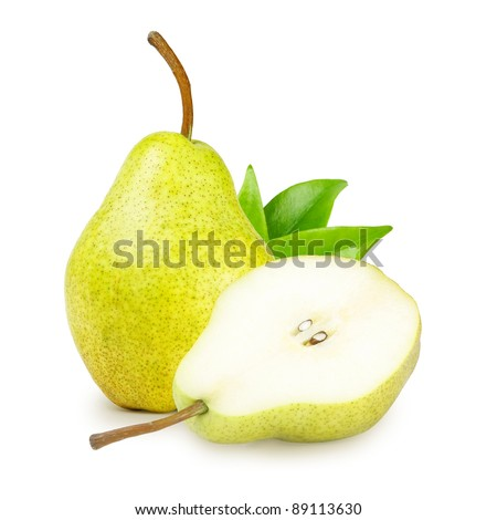 Delicious pear with green leaves isolated on white - stock photo