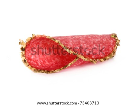 Delicious pepper salami isolated - stock photo