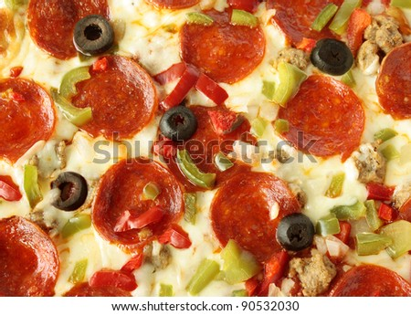 Delicious pepperoni pizza background