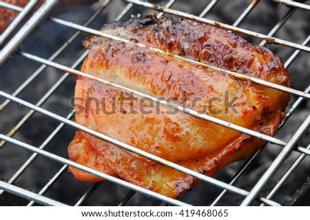 Delicious pieces of chicken in spices on the grill