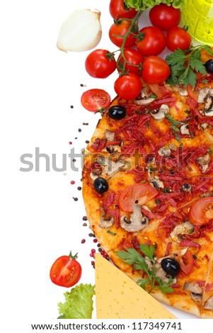 delicious pizza and vegetables isolated on white - stock photo
