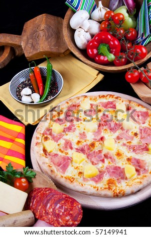 Delicious Pizza Hawaii - stock photo