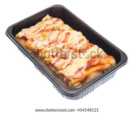 Delicious pizza in packaging isolated on white - stock photo