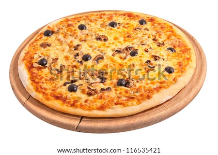 Delicious pizza isolated on white - stock photo