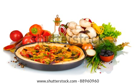 delicious pizza on plate, vegetables and spices isolated on white - stock photo