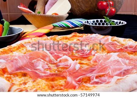 Delicious Pizza Prosciutto Crude - stock photo