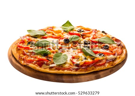 Delicious pizza served on wooden plate isolated on white