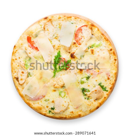Delicious pizza with chicken, parmesan, tomatoes, white sau?e and fresh arugula - thin pastry crust isolated at white background, above view - stock photo