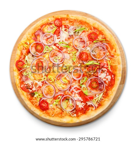 Delicious pizza with fresh onions, leek, bacon and cherry tomatoes - thin pastry crust isolated at white background above view on wooden desk - stock photo