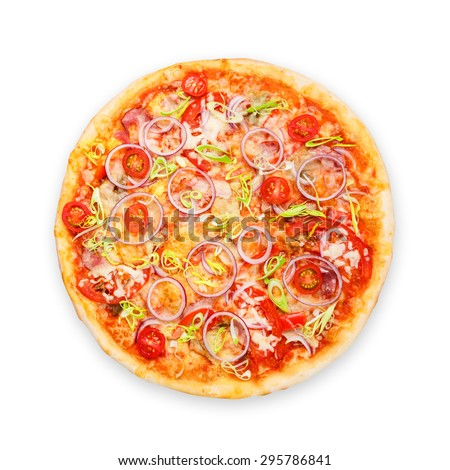 Delicious pizza with fresh onions, leek, bacon and cherry tomatoes - thin pastry crust isolated at white background above view - stock photo