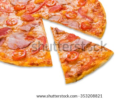 Delicious pizza with peppers, bacon and cherry tomatoes - thin pastry crust isolated at white background, closeup with piece cut off - stock photo